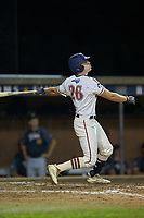 Zach Gelof (26) (UVA) of the High Point-Thomasville HiToms follows through on his swing against the Wilson Tobs at Finch Field on July 17, 2020 in Thomasville, NC. The Tobs defeated the HiToms 2-1. (Brian Westerholt/Four Seam Images)