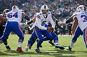 Buffalo Bills quarterback Tyrod Taylor (5) drops back during an NFL Wild-Card football game against the Jacksonville Jaguars, Sunday, January 7, 2018, in Jacksonville, Fla.  (Mike Janes Photography)