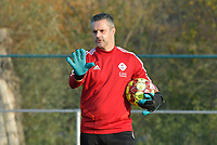 OHL's goalkeepercoach Davy Verbert  pictured during a female soccer game between SV Zulte - Waregem and Oud Heverlee Leuven on the sixth matchday of the 2020 - 2021 season of Belgian Scooore Women s SuperLeague , saturday 7 th of November 2020  in Zulte , Belgium . PHOTO SPORTPIX.BE   SPP   DIRK VUYLSTEKE