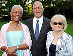 From left: Debra and Eligah King with Faye Brislan at the Pink on the Green cocktail party and picnic at The Houstonian Sunday April 11,2010. (Dave Rossman Photo)