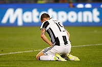 Calcio, Serie A: Roma vs Juventus. Roma, stadio Olimpico, 14 maggio 2017. <br /> Juventus' Leonardo Bonucci reacts during the Italian Serie A football match between Roma and Juventus at Rome's Olympic stadium, 14 May 2017. Roma won 3-1.<br /> UPDATE IMAGES PRESS/Riccardo De Luca