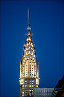 Chrysler Building with lights