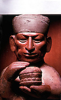 World Civilization:  Man making ritual offering of food in two stacked gourd bowls.  A third gourd, inverted, acts as lid. Food not identifiable. Though fine ceramacists, Moche made all plates, cups, bowls from gourds.
