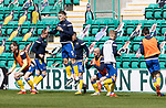 Hibs v St Johnstone…01.05.21  Easter Road. SPFL<br />Jason Kerr pictured during the warm up with Jamie McCart, James Brown, Michael O'Halloran, Chris Kane, Ali McCann and Callum Booth<br />Picture by Graeme Hart.<br />Copyright Perthshire Picture Agency<br />Tel: 01738 623350  Mobile: 07990 594431