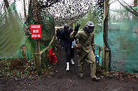 Pictured: Tuesday 25 January 2011<br /> Re: Swansea City FC footballers and staff have spend a morning at Teamforce Paintball in Llangyfelach near Swansea south Wales.