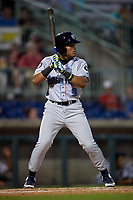 Hudson Valley Renegades Pedro Diaz (9) at bat during a NY-Penn League game against the Mahoning Valley Scrappers on July 15, 2019 at Eastwood Field in Niles, Ohio.  Mahoning Valley defeated Hudson Valley 6-5.  (Mike Janes/Four Seam Images)