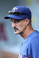 Texas Rangers pitching coach Mike Maddux #31 before a game  against the Los Angeles Angels at Angel Stadium on September 27, 2011 in Anaheim,California. Texas defeated Los Angeles 10-3.(Larry Goren/Four Seam Images)