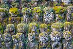 Japan, Kyoto, Otagi Nenbutsu-ji temple, stone statues of disciples of Buddha or rakan,