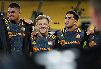 Chiefs Damian McKenzie is all smiles following their win. Super Rugby Aotearoa. Hurricanes v Chiefs. Sky Stadium, Wellington. Saturday 20th March 2021. Copyright photo: Grant Down / www.photosport.nz