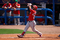 Washington Nationals Yadiel Hernandez (29) bats during a Major League Spring Training game against the New York Mets on March 18, 2021 at Clover Park in St. Lucie, Florida.  (Mike Janes/Four Seam Images)