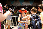 July 26, 2014. Carrboro, North Carolina.<br />  MERGE co-founder Laura Ballance handed out free ear plugs to festival goers. Ballance recently stopped touring with her longtime band Superchunk due to hearing damage. <br />  Day four of the MERGE 25 festival, celebrating the 25 year history of the independent record label.