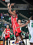 Arkansas State Red Wolves forward Sherina Scott (22) goes up for a rebound during the NCAA Women's basketball game between the Arkansas State Red Wolves and the University of North Texas Mean Green at the North Texas Coliseum,the Super Pit, in Denton, Texas. Arkansas State defeated UNT 62 to 59