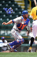 St. Lucie Mets catcher Colton Plaia (26) retrieves a ball after blocking a pitch in the dirt during a game against the Bradenton Marauders on April 12, 2015 at McKechnie Field in Bradenton, Florida.  Bradenton defeated St. Lucie 7-5.  (Mike Janes/Four Seam Images)