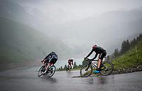 Warren Barguil (FRA/Arkéa Samsic) descending the Col du Pré (HC/1748m) towards the Barrage de Roselend in, yet again, grim conditions.<br /> <br /> Stage 9 from Cluses to Tignes (145km)<br /> 108th Tour de France 2021 (2.UWT)<br /> <br /> ©kramon