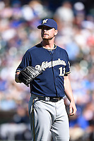 Milwaukee Brewers pitcher Will Smith (13) during a game against the Chicago Cubs on August 14, 2014 at Wrigley Field in Chicago, Illinois.  Milwaukee defeated Chicago 6-2.  (Mike Janes/Four Seam Images)