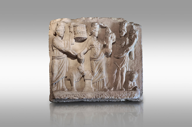 Roman relief sculpture of the Coronation of Hierapolis. Roman 2nd century AD, Hierapolis Theatre.. Hierapolis Archaeology Museum, Turkey. Against a grey background
