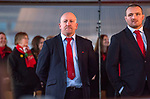 Wales's national rugby team who won both the Six Nations and the Grand Slam are welcomed to the National Assembly for Wales Senedd building in Cardiff Bay today for a public celebration event. Pictured is Wales defence coach Shaun Edwards alongside Ken Owens.
