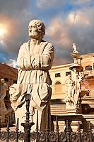 Fountain of Piazza Pretoria by Floentine Mannerist sculptor, Francesco Camilliani ( 1554- 1555), Palermo, Sicily