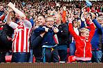 Stoke City 1 West Bromwich Albion 1, 24/09/2016. Bet365 Stadium, Premier League. Stoke fans celebrate the goal scored by Joe Allen. Photo by Paul Thompson.
