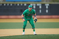 Notre Dame Fighting Irish third baseman Niko Kavadas (12) on defense against the Wake Forest Demon Deacons at David F. Couch Ballpark on March 10, 2019 in  Winston-Salem, North Carolina. The Fighting Irish defeated the Demon Deacons 8-7 in 10 innings in game two of a double-header. (Brian Westerholt/Four Seam Images)