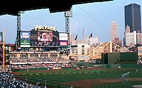 Ballparks: Pittsburgh PNC Park, 2001. View from grandstand lower deck. Roberto Clemente Bridge, U.S. Steel Bldg.
