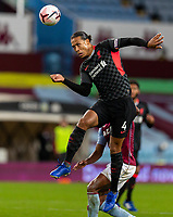 4th October 2020, Villa Park, Birmingham, England;  Liverpool s Virgil van Dijk wins the header during the English Premier League match between Aston Villa and Liverpool at Villa Park