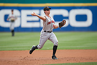 Indianapolis Indians third baseman Eric Wood (14) throws to first base during a game against the Buffalo Bisons on August 17, 2017 at Coca-Cola Field in Buffalo, New York.  Buffalo defeated Indianapolis 4-1.  (Mike Janes/Four Seam Images)