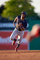 State College Spikes Donivan Williams (5) running the bases during a NY-Penn League game against the Batavia Muckdogs on July 1, 2019 at Dwyer Stadium in Batavia, New York.  Batavia defeated State College 5-4.  (Mike Janes/Four Seam Images)