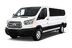 2019 Ford Transit Wagon 350 XLT Wagon Low Roof 60/40 Pass. 148WB 5 Door Passenger Van angular front stock photos of front three quarter view