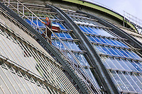 Nicolas Géant going up on to the roof of the Grand Palais