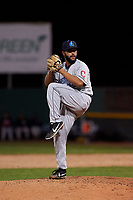 Lake County Captains relief pitcher Luis Araujo (41) during a Midwest League game against the Beloit Snappers at Pohlman Field on May 6, 2019 in Beloit, Wisconsin. Lake County defeated Beloit 9-1. (Zachary Lucy/Four Seam Images)
