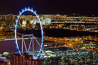 Las Vegas, Nevada at Night, The High Roller from the Eiffel Tower.