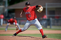 Batavia Muckdogs relief pitcher Bryce Howe (52) delivers a pitch during a game against the Auburn Doubledays on June 17, 2018 at Falcon Park in Auburn, New York.  Auburn defeated Batavia 10-6.  (Mike Janes/Four Seam Images)
