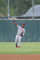 AZL Reds right fielder Raul Wallace (33) on defense against the AZL Athletics on July 16, 2017 at Lew Wolff Training Complex in Mesa, Arizona. AZL Athletics defeated the AZL Reds 13-5. (Zachary Lucy/Four Seam Images)