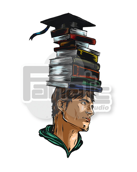 Illustration of studious male student with stacked books on head representing career