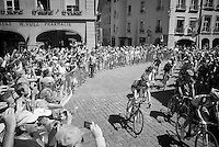 the neutralised peloton parades through the city of Bern towards the real start<br /> <br /> stage 17: Bern (SUI) - Finhaut-Emosson (SUI) 184.5km<br /> 103rd Tour de France 2016