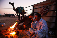 Camel care takers camp outside the family compound, eating and drinking tea around the fire while watching over the valuable animals at night.