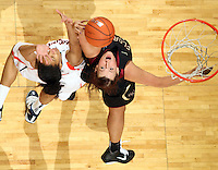 Feb. 7, 2011; Charlottesville, VA, USA; Florida State Seminoles guard Alexa Deluzio (3) fights for the rebound with Virginia Cavaliers center Simone Egwu (4) during the second half of the game at the John Paul Jones Arena. The Florida State Seminoles won 78-74. Mandatory Credit: Andrew Shurtleff-US PRESSWIRE