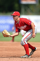 Jonathan Martin (2) of Felix-Leclerc High School in L'assomption, Quebec Canada playing for the Philadelphia Phillies scout team during the East Coast Pro Showcase on August 1, 2014 at NBT Bank Stadium in Syracuse, New York.  (Mike Janes/Four Seam Images)