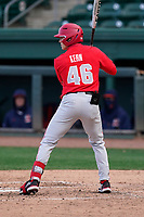 Right fielder Kade Kern (46) of the Ohio State Buckeyes in a game against the Illinois Fighting Illini on Friday, March 5, 2021, at Fluor Field at the West End in Greenville, South Carolina. (Tom Priddy/Four Seam Images)