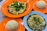 Malaysian Cuisine: Chicken, Rice, and Bean Sprouts, a Local Specialty.  Ipoh, Malaysia.