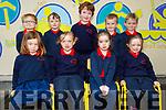 Junior infants from Aideen Uí Mhurchú and Rachel Ní Buachalla's class in Scoil an Chlocháin NS. Seated l to r: Amy Nic Gearailt, Julie Ní Ghráinne and Róisin Ní Mhuircheartaig. Back l to r: Oisin Ó Néill, Frank MacPrionsias, Peaidí Ó hÉanaccháin, Mikey Ó Conchubhair and Pádraig Ó Loingsigh.