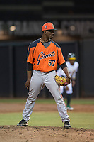 AZL Giants Orange relief pitcher Yoel Veras (67) looks to his catcher for the sign during an Arizona League game against the AZL Athletics at Lew Wolff Training Complex on June 25, 2018 in Mesa, Arizona. AZL Giants Orange defeated the AZL Athletics 7-5. (Zachary Lucy/Four Seam Images)