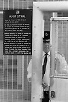 HM Prison Styal Wilmslow Cheshire 1980s. Womens prison Cheshire 1986 Male prison officer on gate duty at entrance to prison. UK