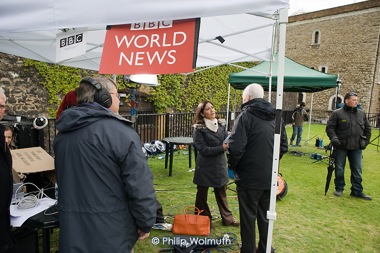 Tony Benn is interviewed by BBC World News on College Green, Westminster, as politicians from the three main parties negotiate following an indecisive result in the 2010 General Election.
