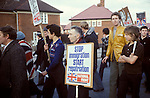 """National Front anti immigration march and rally NF members with Stop immigration Start repatriation"""" banner   Walsall Birmingham England.1977 1970s"""