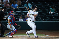 Alex Destino (23) of the Winston-Salem Dash follows through on a 2-run home run during the game against the Hickory Crawdads at Truist Stadium on July 10, 2021 in Winston-Salem, North Carolina. (Brian Westerholt/Four Seam Images)