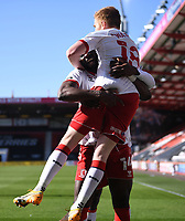 2nd April 2021; Vitality Stadium, Bournemouth, Dorset, England; English Football League Championship Football, Bournemouth Athletic versus Middlesbrough; Duncan Watmore of Middlesbrough celebrates with his team after  scoring in 63rd minute 1-1