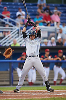 Staten Island Yankees shortstop Angel Aguilar (12) avoids an inside pitch during a game against the Batavia Muckdogs on August 27, 2016 at Dwyer Stadium in Batavia, New York.  Staten Island defeated Batavia 13-10 in eleven innings.  (Mike Janes/Four Seam Images)