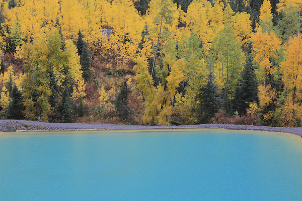 Aqua water in a mine tailing pond, Telluride, Colorado. .  John offers private photo tours and workshops throughout Colorado. Year-round.
